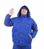 Worker in blue workwear. — Stock Photo