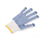 Protective glove with blue circles. — Stock Photo