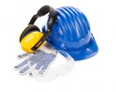 Hard hat, gloves, ear muffs and glasses. — Stock Photo