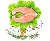 Salmon steak on lettuce with olives — Stock Photo