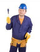 Worker in protective helmet with tools. — Stock Photo
