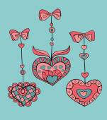 Vector Set of doodle hand-drawn hearts for Valentine's day. — 图库矢量图片