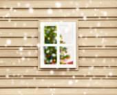 Vánoční pohled z oken domů — Stock fotografie