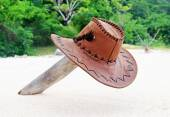 Hat on a desert island — Stock Photo