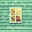 Christmas view of house windows — Stock Photo #59992235