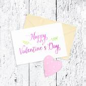 Beautiful card for congratulation with heart — Stockfoto