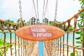 Signboard on the tropical island — Stock Photo