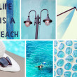Collage of photos in blue colors — Stock Photo #77296812