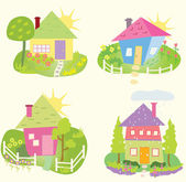 Spring Home Icons — Stock Vector