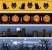 Four Halloween Banners — Stock Vector