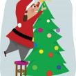Dad Decorates the Christmas Tree — Stock Vector #57561281