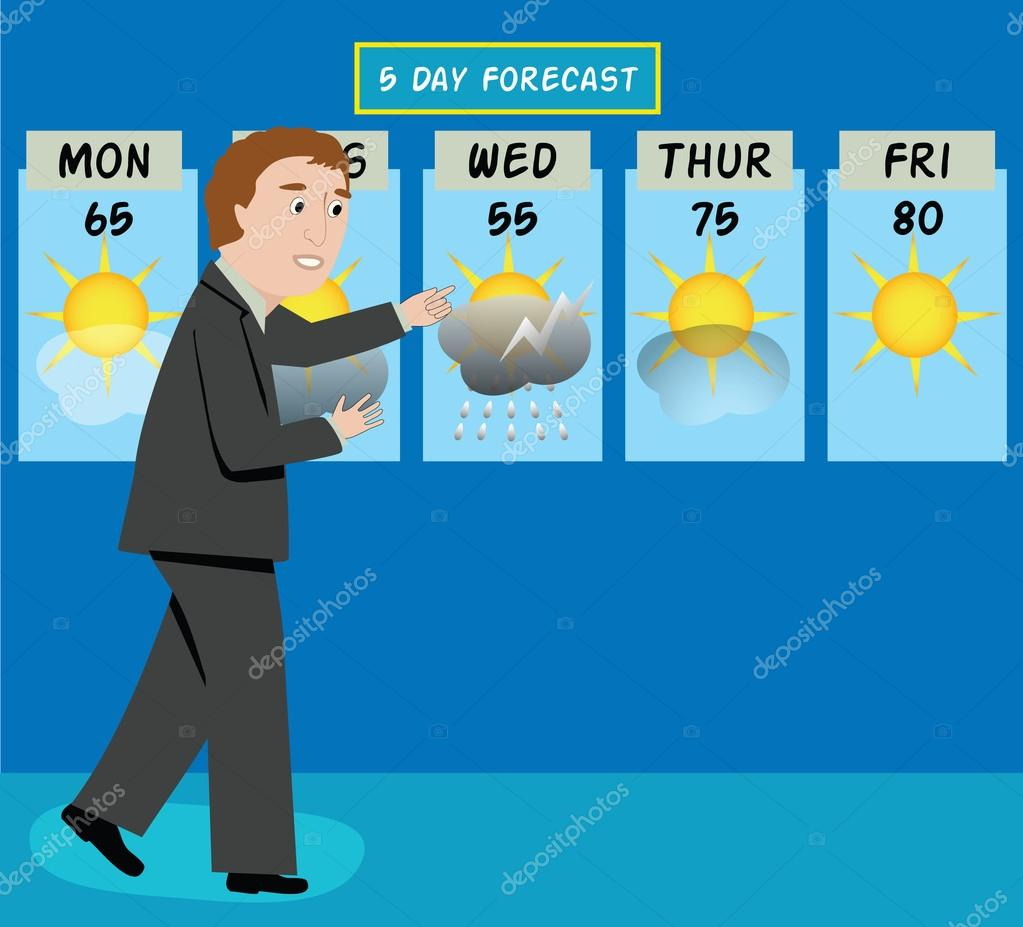 A tv weather man forecasts the  Weatherman Clipart