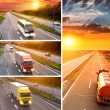 Truck and bus on highway at sunset - collage — Stock Photo #53501371