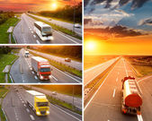 Truck and bus on highway at sunset - collage — Foto Stock