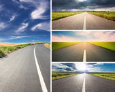 Empty aspalt road at day - collage — Stock Photo