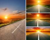 Empty aspalt road at sunset - collage — Stock Photo