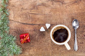 Cup of coffee with christmas decoration 1 — Stock Photo
