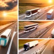 Truck and bus on highway at sunset - banner — Stock Photo #56884811