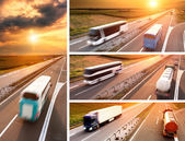 Truck and bus on highway at sunset - banner — Stock Photo