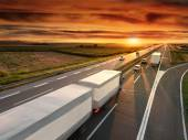 Truck in motion blur on the highway — Stock Photo