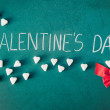 Valentines Day with sugar hearts and ribbon — Stock Photo #62180127