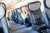 Girl sitting in speed train — Stock Photo