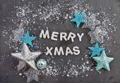 Merry Xmas on slate background — Stock Photo