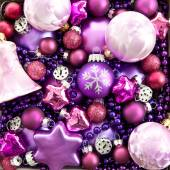 Background made from colorful christmas ornaments — Stock Photo