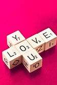 Love you written on wooden dice — Stock Photo