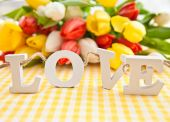 LOVE in wooden letters — Stock Photo