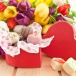 Variety of chocolates in heartshaped box — Stock Photo #62043681
