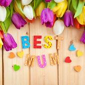 Nejlepší máma v různobarevných písmeny — Stock fotografie
