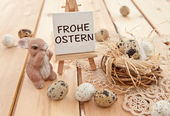 Easter nest with quail eggs — Stock Photo