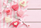 Pink Petit Fours in Heart shape — Stock Photo