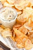 Homemade chips with dip — Stock Photo