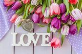 Colorful tulips on purple — Stock Photo