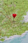 London pinned with a heart — Стоковое фото