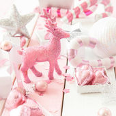 Pink christmas decorations — Stock Photo