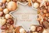 Christmas tree ornaments in bronze tones — Stock Photo