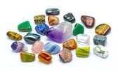 Colorful stones and minerals in white backgrounds — Stock Photo