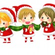 Cute Christmas elves with a long scarf with no black outline — Stock Vector #58288593
