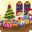 Cute little elves are celebrating Christmas, create by vector — Stock Vector #58756527