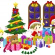 Cute little elves are celebrating Christmas in isolated backgrou — Stock Vector #58756533