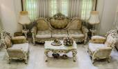 Upper angle of a living room with luxurious and classical haunting style furniture — Stock Photo