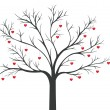 Tree of red Hearts hanging — Stock Vector #72322611