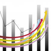 Colorful growth arrows and graphs — Stock Vector