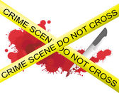 Crime scene of a knife murderer with blood splatter on the floor and security label, create by vector — Stock Vector