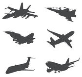 Sets of silhouette Aero planes and jet, create by vector — Stock Vector