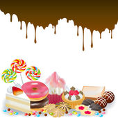 Sweets and candy and chocolate dripping background — Stock Vector