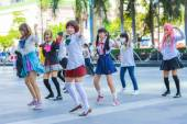 BANGKOK, THAILAND - MARCH 31: Group of Thai cosplayers dancing like cover girls for public show in the 3rd Thai-Japan anime festival on March 31, 2013. — Stock Photo